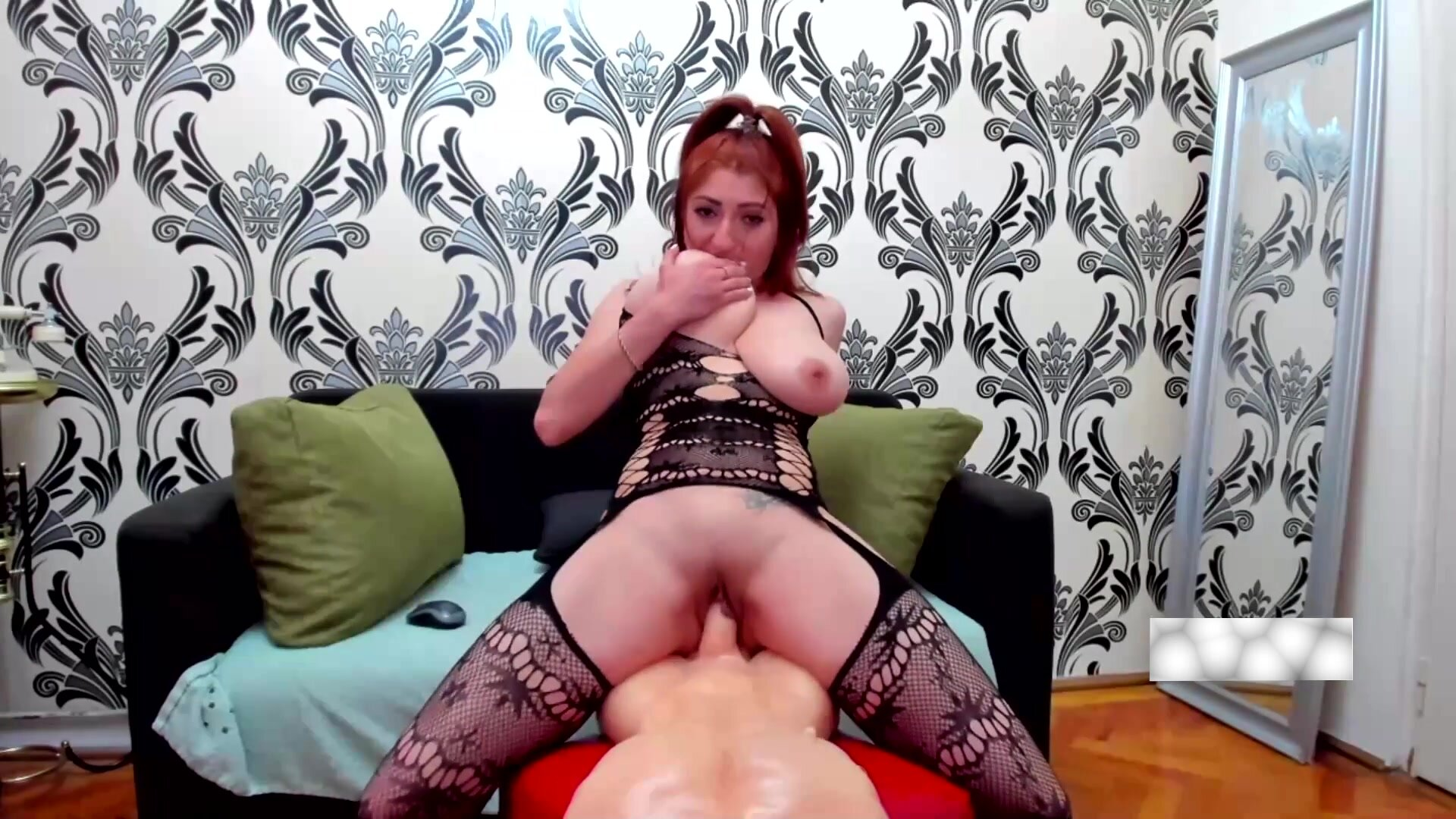 Horny housewife with huge breasts riding on dildo